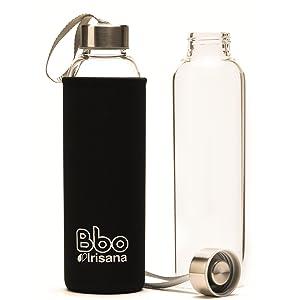 botella reutilizable vidrio borosilicato, botella ecologica, biberon ecologico, botella agua cristal