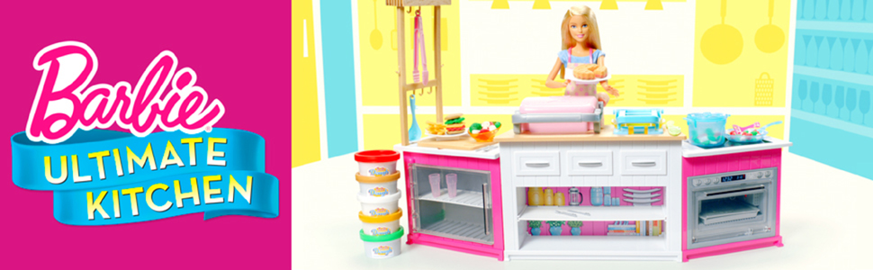 Barbie Kitchen Playset With Doll Lights Sounds Food Molds 5