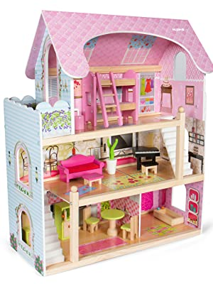 LAANCOO casa delle Bambole in Miniatura mobili in Legno Bagno Insieme Sedia casa delle Bambole toletta Decorazione Vasca da Bagno WC