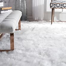 shag, rug, white, plush, area rug
