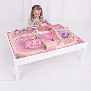 Bigjigs Rail Magical Train Set and Table  sc 1 st  Amazon.com & Amazon.com: Bigjigs Rail Magical Wooden Train Set and Table - 59 ...