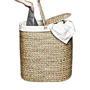 seville classics oval tall woven wicker water hyacinth lidded double laundry bag hamper sorter