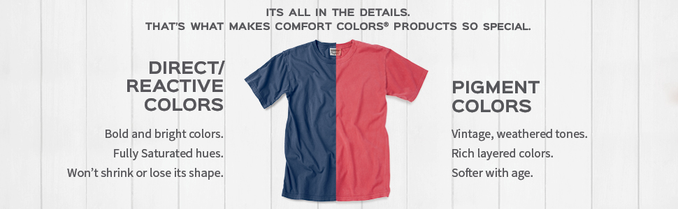 Adult tee, tee shirt, tee, garment dye, t-shirt, pigment colors, direct/reactive colors