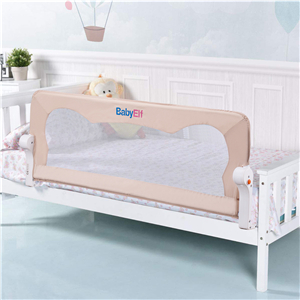 Easy to Use Queen Size Bed Guard for Kids for The Babys Safe Sleep 47 inch Single Fold Safety Bedrail BABY ELF Bed Rail Mesh Bed Rail for Toddlers Beige Color