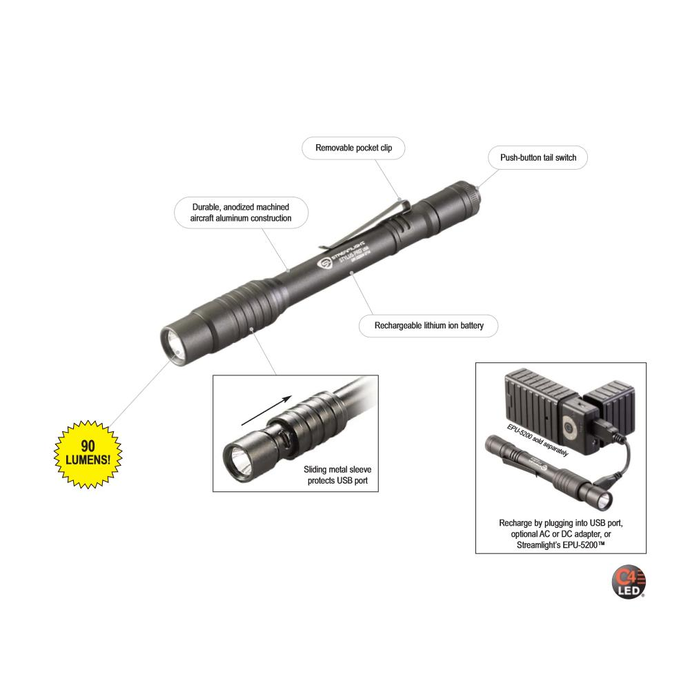 streamlight 66134 stylus pro usb rechargeable penlight