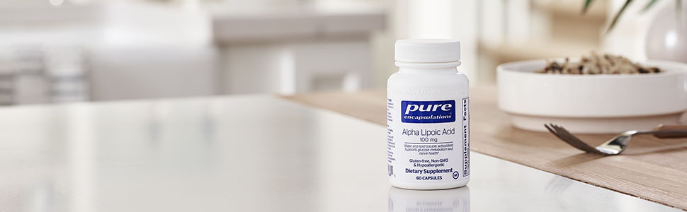 Pure - Alpha Lipoic Acid 100 mg - Hypoallergenic Water- and Lipid-Soluble Antioxidant Supplement