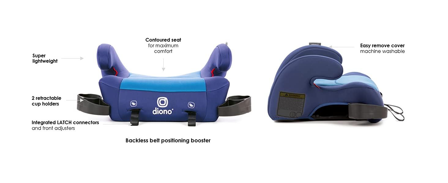 Diono Solana Backless Booster Seat Perfect for Fast Growing Kids Black Forward Facing 40-120 Pounds Fits Children Up to 63