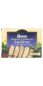 Reese Skinless and Boneless Sardines in Olive Oil, 3.75-Ounces (Pack of 10)