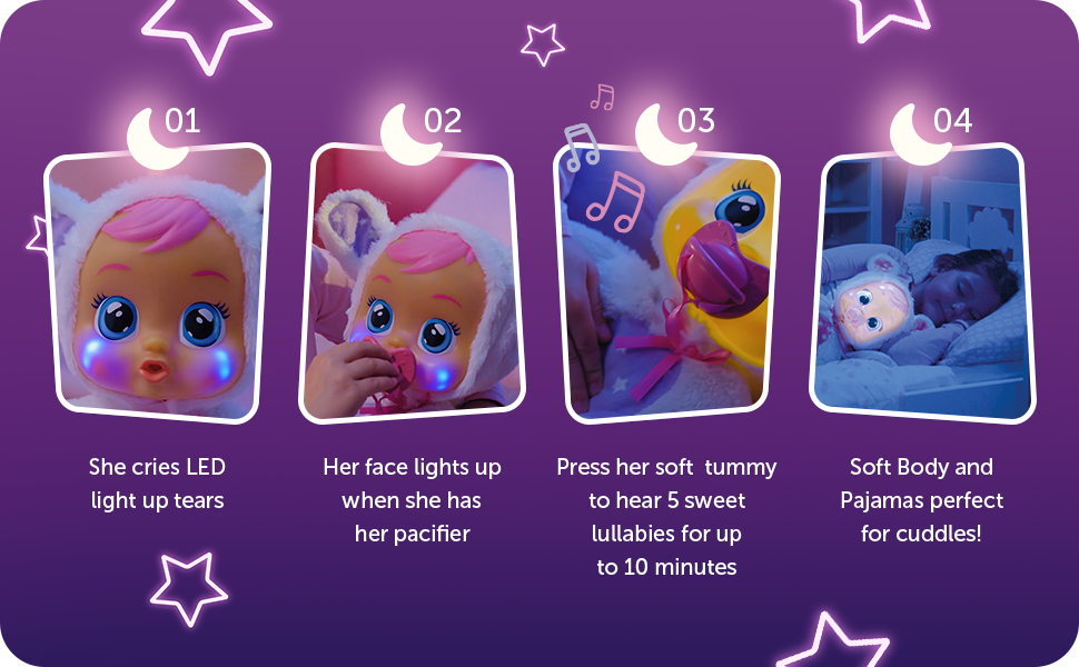 glow doll, light up doll, lullaby doll, crying doll