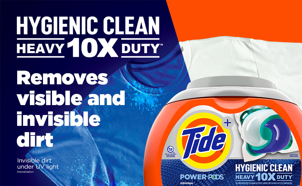 Tide Hygienic Clean Heavy Duty 10X POWER PODS removes visible and invisible dirt