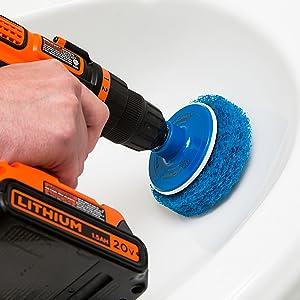 revoclean, drill brush, drill brush, drill attachment, drill clean, hurricane brush
