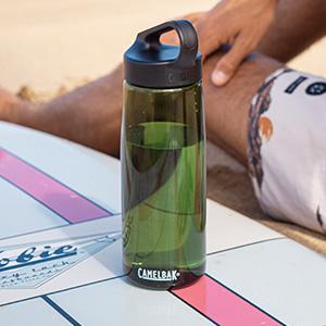 camelbak carry cap water bottle. reusable water bottles. bpa-free plastic water bottle.
