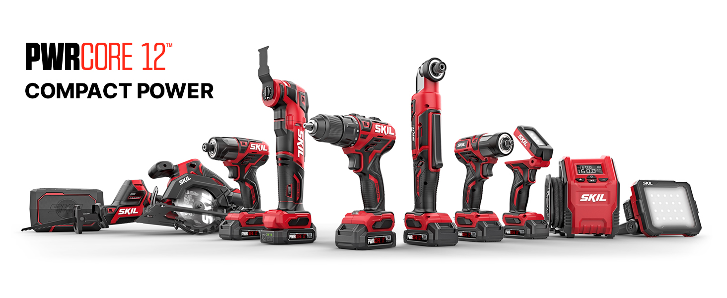 The complete line of SKIL PWRCore 12 Brushless 12 Volt tools