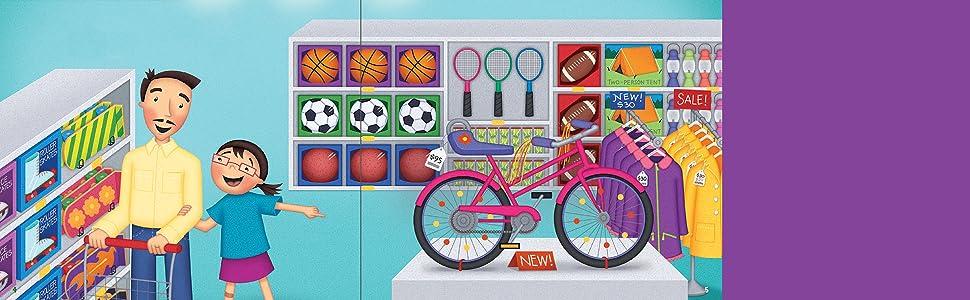 bike, shopping, father, daughter