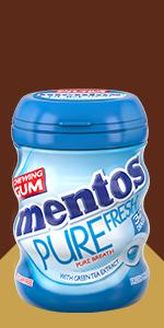 Mentos; Gum; chewing; pack; sugar-free; xylitol; fresh; mint; crunchy; refreshing; gum; flavour;