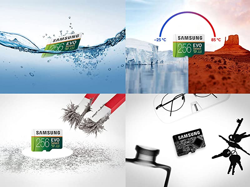 Samsung MicroSDXC EVO Select Memory Card in water, cold, heat, near a magnet and under a x-ray