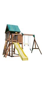 Altamont, WS 8343, swing set for kids, swing set with slide, wooden swing set