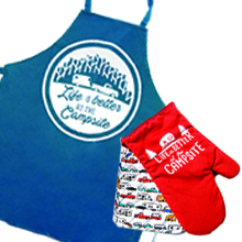 kitchen accessories; apron; oven mitt; pot holder