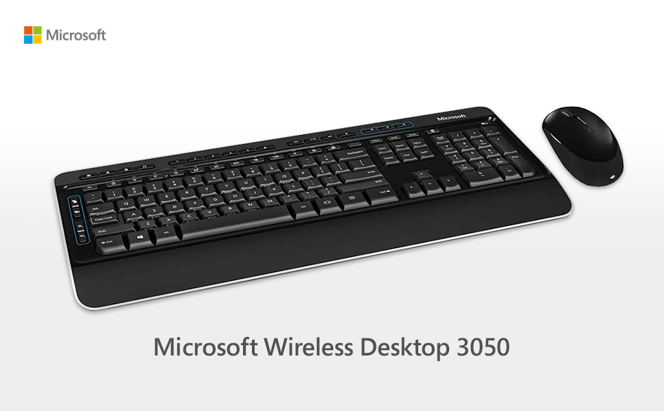 Microsoft – Wireless Desktop 3050, Ratón y teclado, QWERTY español, Negro