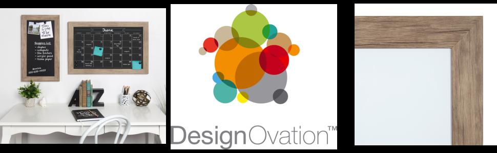 DesignOvation Beatrice Framed Magnetic Dry Erase Monthly Calendar, 23x29,  Walnut Brown