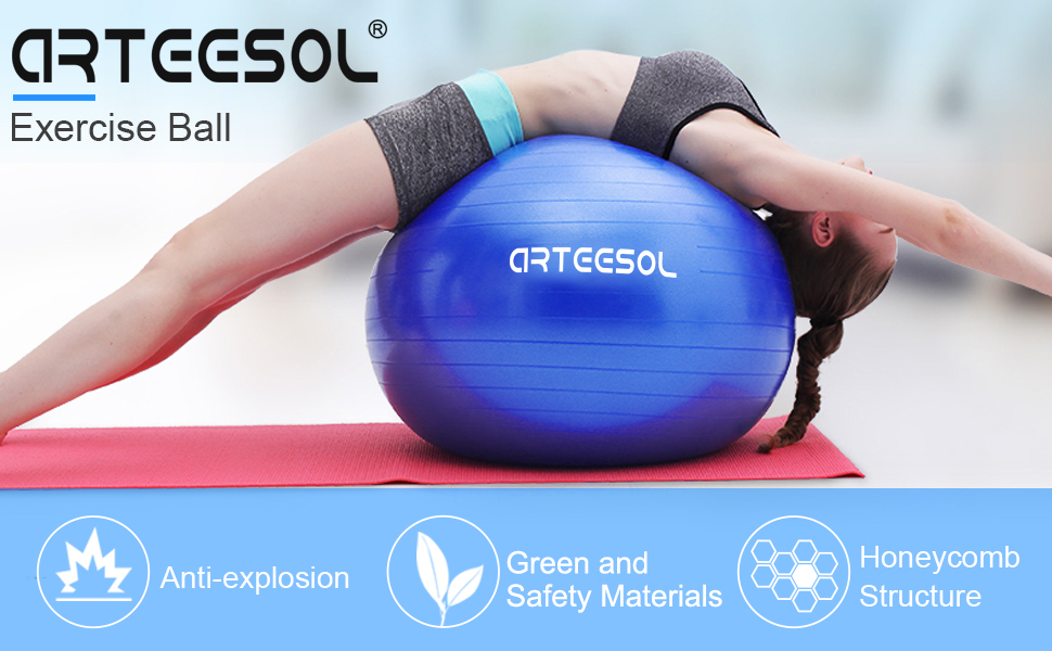 arteesol Exercise Ball, Yoga Balls 45cm/55cm/65cm/75cm/85cm Birthing Ball with Quick Pump Anti-Slip & Anti Burst Balance Ball for Physical Therapy Gym ...