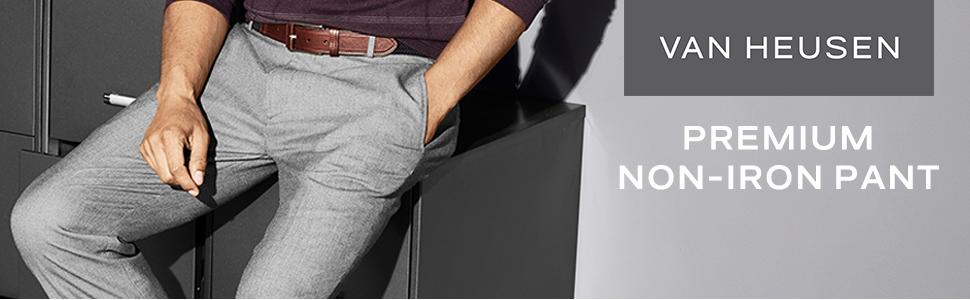 efc6308e60eff Van Heusen Men s No-Iron Classic-Fit Flat-Front Pant at Amazon Men s ...