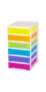 Tour de rangement en plastique multicolore Organizer Chest OCH-2060 par Iris Ohyama