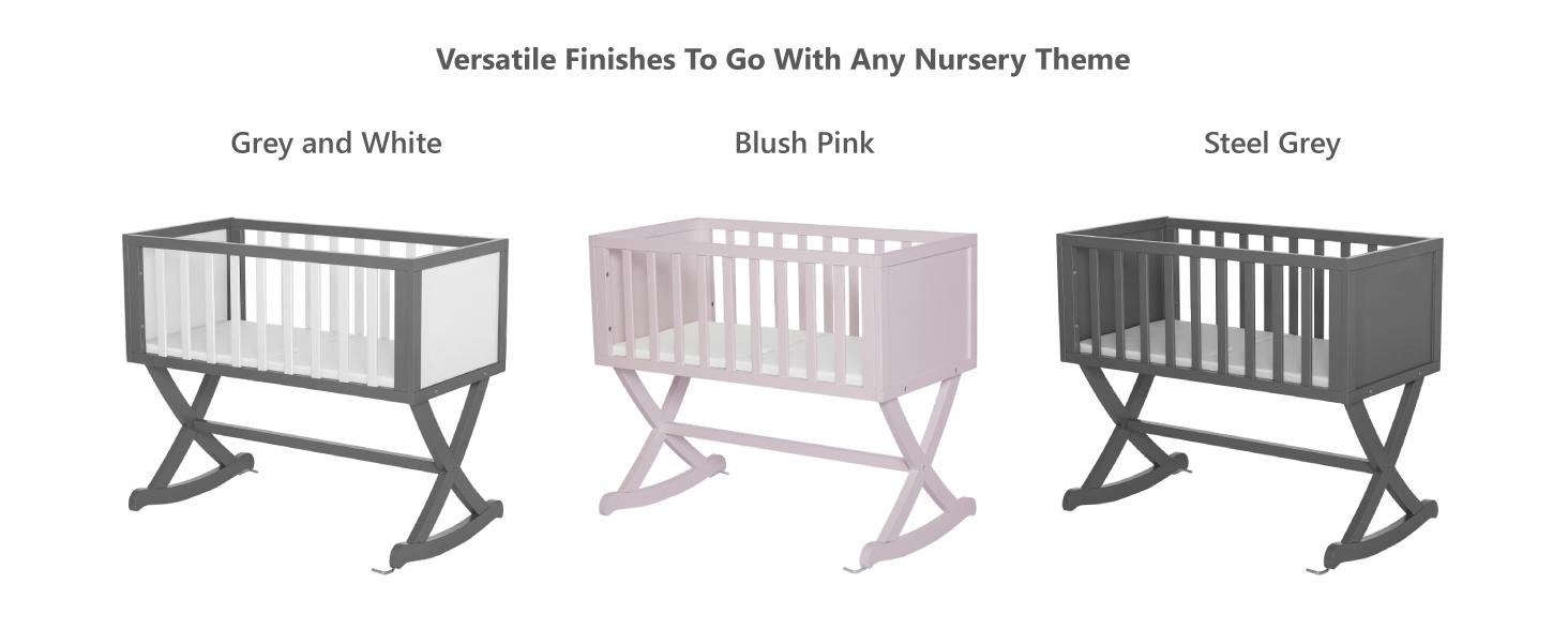 white cradle, pink cradle, gray cradle, natural cradle,brown cradle,gender neutral cradle,boy cradle