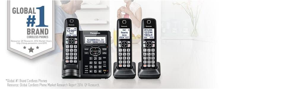 Panasonic KX-TGF545B Expandable Cordless Phone with Answering Machine - 5 Handsets
