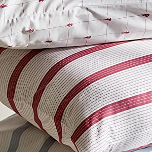lacoste cotton percale sheet set fitted flat pillowcase pillow pattern designer color soft cool warm