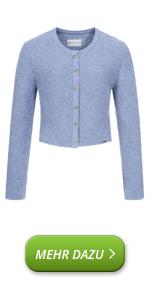 Cardigan corto da donna, in lana vergine