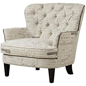 Traditional Button Tufted Upholstered Arm Chair In Paris Script