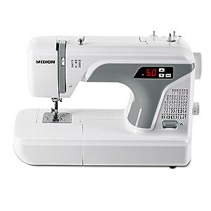MEDION Máquina de coser digital (MD 16661), ojal automático, 40 vatios, 50 patrones de puntada diferentes, luz de costura LED, accesorios extensos, blanco