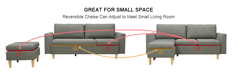 Amazon Com Sectional Sofa L Shape Sectional Couch With