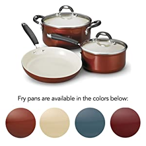 ceramica cookware, pots and pans, metallic copper, metallic sand, mediterranean blue,