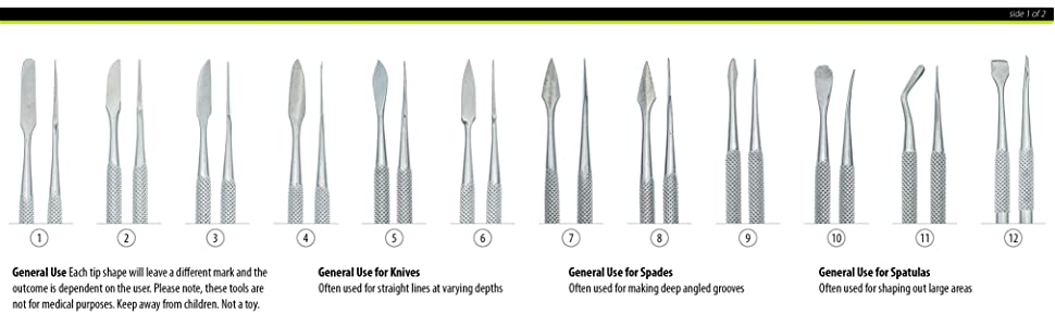 general use spades knives burnishers scrapers scoops spatulas constructed of stainless steel