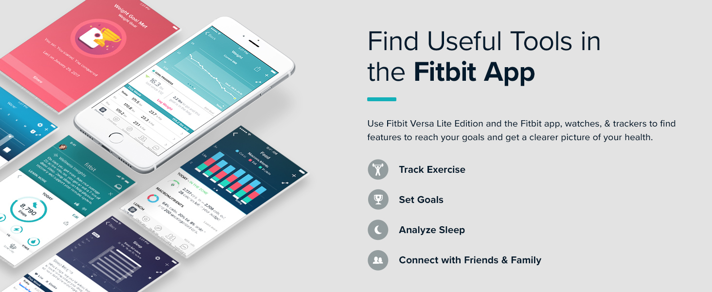 Smart phone screens displaying various views of fitbit app