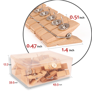 Cheap Sale Push Pins With Wooden Clips 50pcs Thumbtacks Pushpins Creative Paper Clips Clothespins Natural Color For Cork Board And Photo Always Buy Good Office Binding Supplies