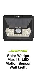 mr beams solar wedge max 18, wireless led solar security light, outdoor led wall light, solar led