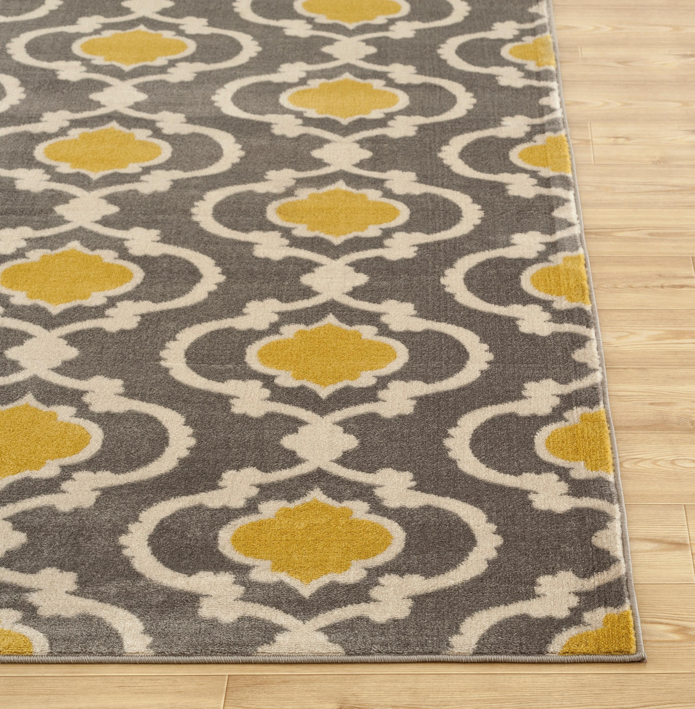 rugshop moroccan trellis contemporary indoor area rug 5 3 quot x 7 3 quot gray yellow