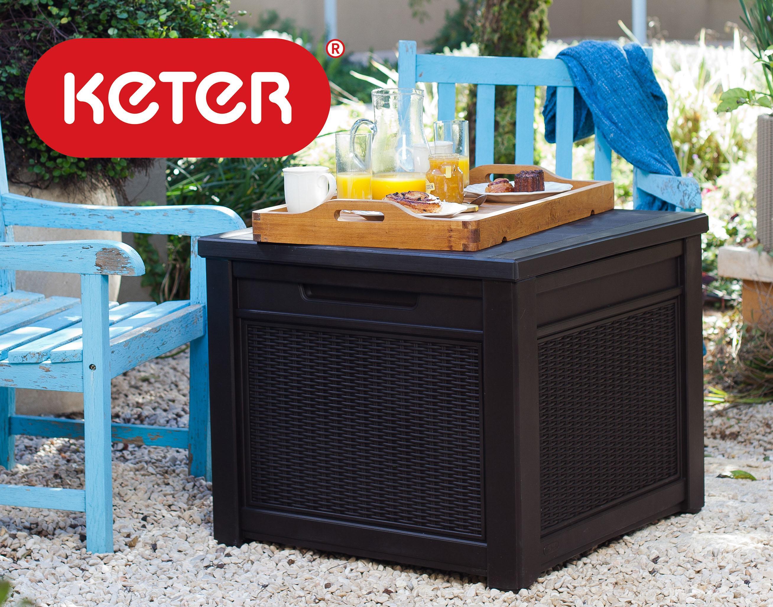 keter 55 gallon outdoor rattan style storage. Black Bedroom Furniture Sets. Home Design Ideas