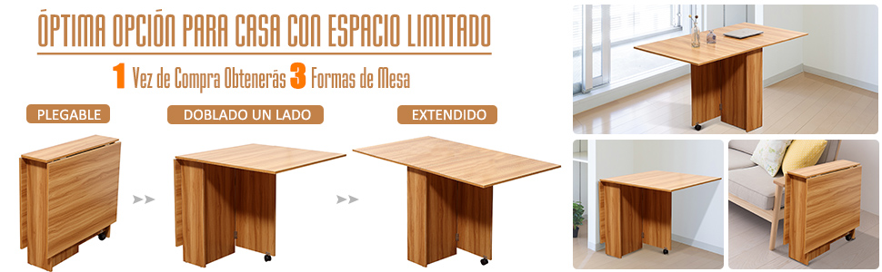 HOMCOM Mesa Plegable con Ruedas Estante Multifuncional para ...