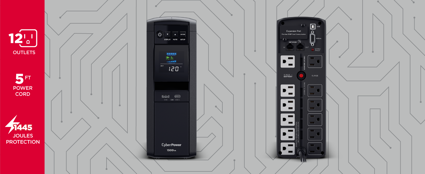 NEW Cyberpower 12-Outlet 1500VA UPS Battery Backup Surge Protector System w//LCD