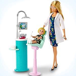 Muñeca Barbie Dentista rubia y conjunto de juego con muñeca pequeña de paciente rubia,