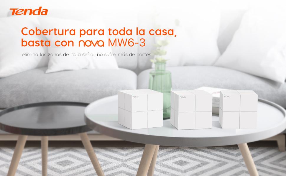 Tenda Mw6 Nova - Sistema Mesh WiFi para todo el Hogar (paquete de 3, cobertura de doble banda de hasta 500 m2, Mu-Mimo, control parental, funciona con Alexa): Tenda: Amazon.es: Informática