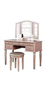 Bobkona Pdex Croix Collection Vanity Set With Stool Rose Gold Furniture Decor Amazon Com