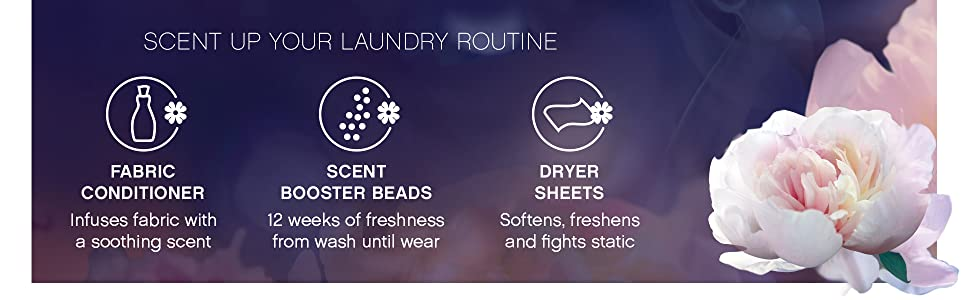 scent up your laundry routine with downy fabric conditioner, scent booster, beads dryer sheets