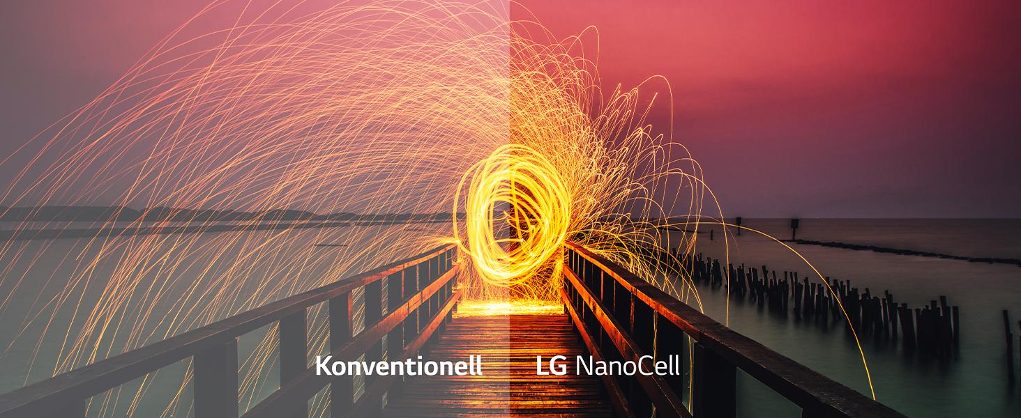 Bild eines feuerwerkskörper im sonnenuntergang: nano-cell und konvetionelle darstellung im vergleich
