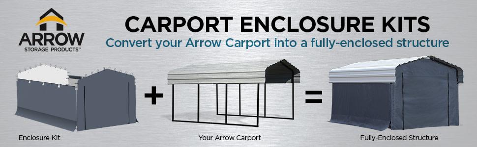 Amazon Com Arrow Fabric Enclosure Kit For 10 X 15 Ft Arrow Carports Metal Carport Not Included Garden Outdoor