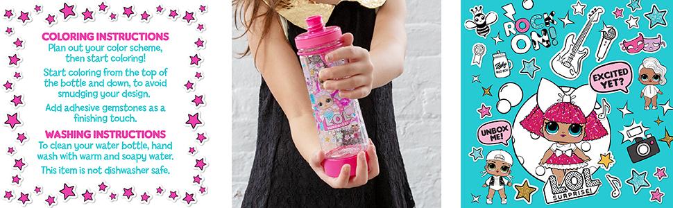 lol surprise, water bottle, color your own, design, activity, coloring, kids, tween, girls, color